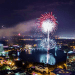 4th of July events and fireworks in Orlando: image of fireworks bursting over Lake Eola on 4th of July