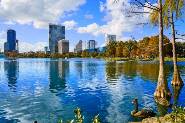 Orlando skyline from lake Eola Florida US