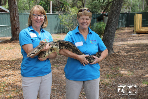 Central Florida Zoo discounts: image of zoo keepers hold a snake