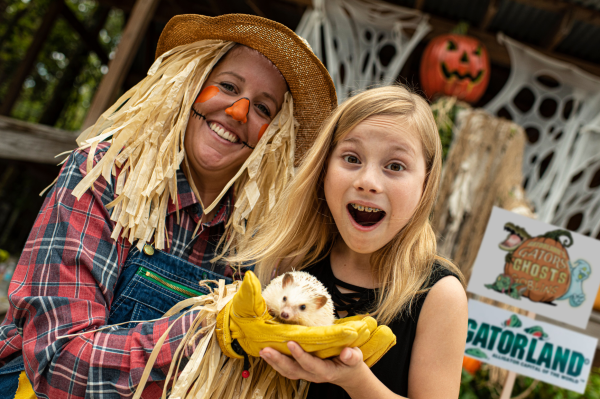 Gatorland's Gators, Ghosts And Goblins: image of girl holding a porcupine at Gatorland