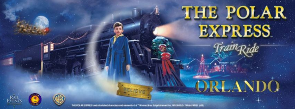 The Polar Express Train Ride Orlando: image of boy and Polar Express train from the movie