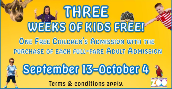 Central Florida Zoo: graphic showing three weeks of kids free at the zoo