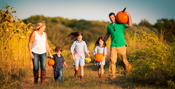 Orlando pumpkin patches and corn mazes: image of family picking pumpkins at Lake Catherine