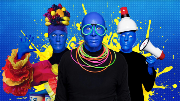 Blue Man Group Florida Resident discount: image of three blue performers from Blue Man Group in Orlando
