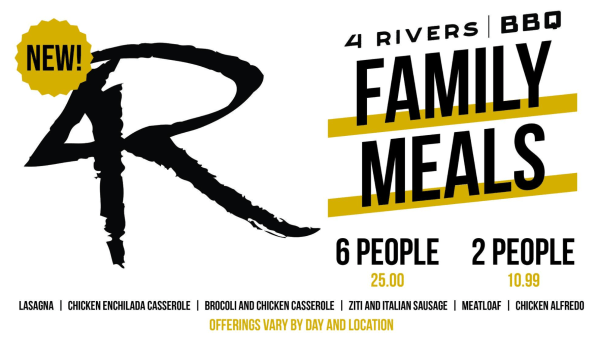 Orlando Family Meal Deals: graphic for 4Rivers family meals
