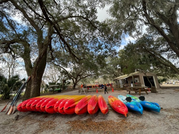 Blue Spring State Park: image of kayaks you can rent to see the manatees swim or explore St. Johns River