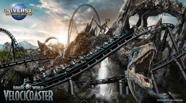 Dinosaurs in Orlando: image of the the new Jurassic World VelociCoaster at Universal Orlando Resort
