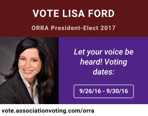 Vote Lisa Ford ORRA President-Elect