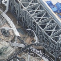 Aerial Photos Show Jurassic Park Roller Coaster Ride Vehicle on Track