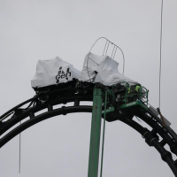 Ride Vehicle for Jurassic Park Roller Coaster Reaches Very Top of Top Hat