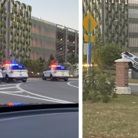 Orange County Sheriff's Office Vehicle Runs Off Road Next to Disney Springs Parking Garage