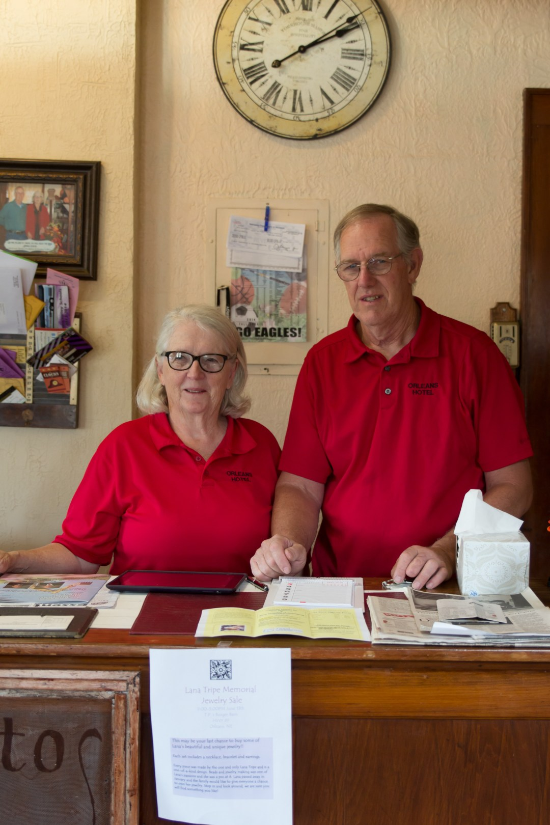 David and Marilyn Snodgrass welcome their guests at the front desk of the Orleans Hotel, Orleans, NE