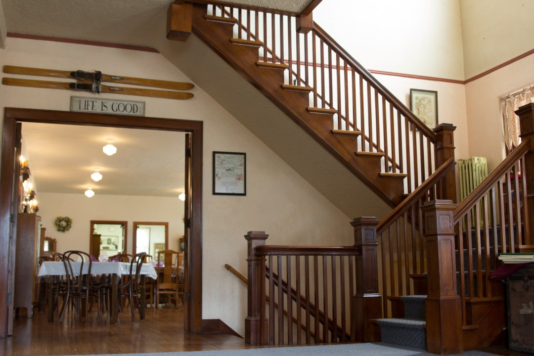 Stairway with French Door into the formal dining room