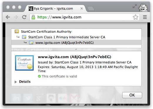 Certificate chain of trust for igvita.com (Google Chrome, v25)
