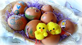 Painted hard boiled eggs.