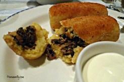 Ukranian potato cakes stuffed with mushrooms