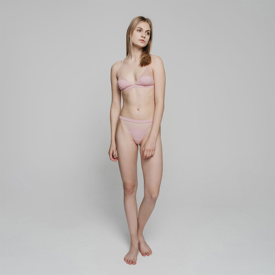 variable  Triangle Soft-Cup Bra Set   Pale Pink