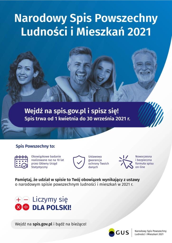 Plakat Narodowego Spisu Powszechnego Ludności i Mieszkań 2021.