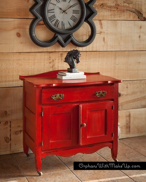 A Pop Of Red Antique Wash Stand Orphans With Makeup