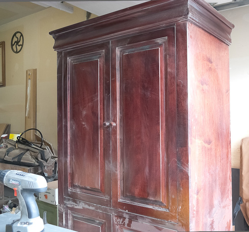 MEDIA CABINET TURNED ARMOIRE