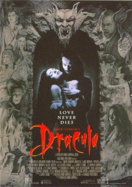 Affiche du film Dracula de Coppola, adapatation libre du roman de Bram Stocker