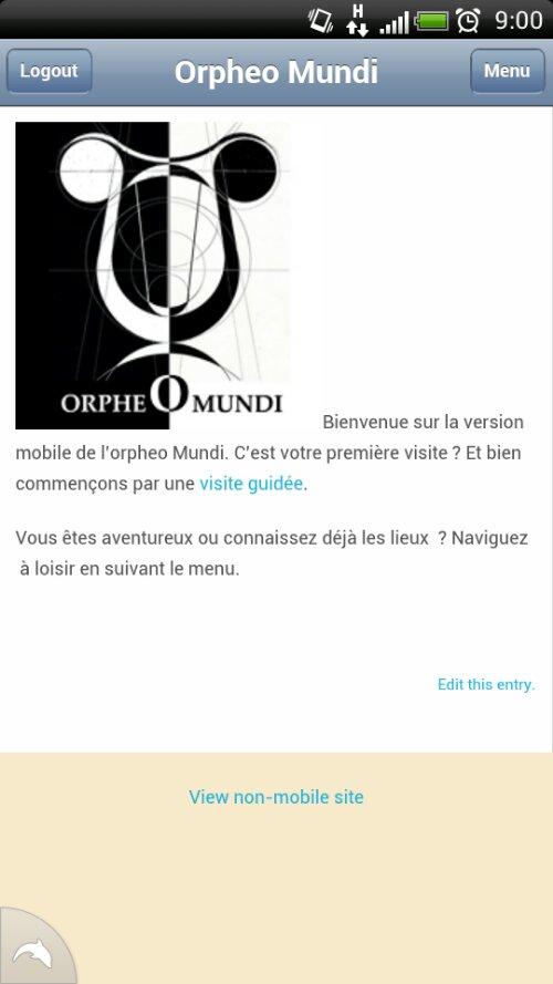 Page d'accueil de la version mobile de l'orpheo Mundi