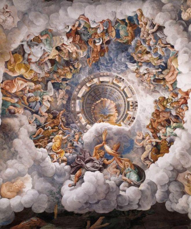 L'assemblée des dieux autour du trône de Jupiter par Giulio Romano