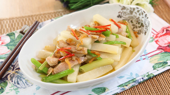 白蘿蔔蝦米炒肉絲