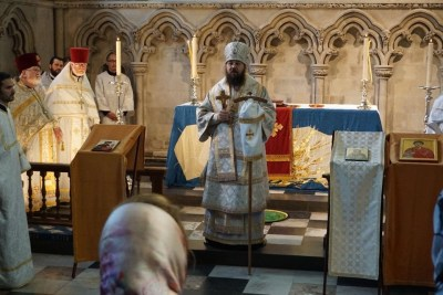 Bishop Irenei delivers a homily at the Diocesan Pilgrimage