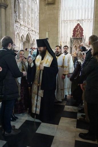Greeting the pilgrims