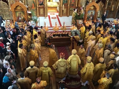 Clergy and Faithful at the Divine Liturgy for the 25th Anniversary of St John's canonisation