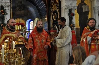 The newly-ordained Deacon Aviv presents the chalice for the communion of the faithful, Geneva 2019