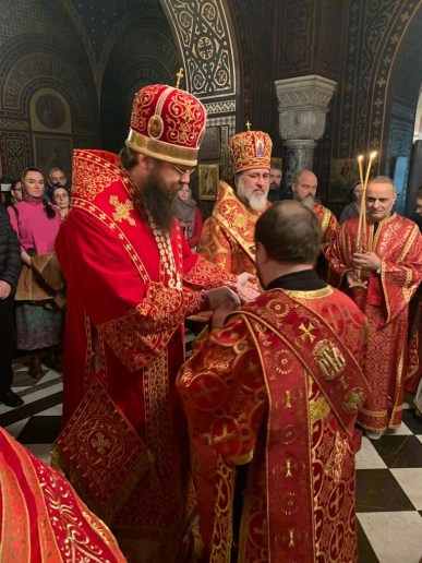 Bishop Irenei awards Deacon Vladimir, of the Geneva Cathedral, the right to wear the Double Orarion