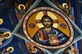 Fresk z ikoną Chrystusa w cerkwi Świętej Trójcy