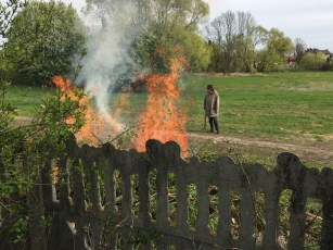 Ludmiła dogląda palących się gałęzi z karczowiska