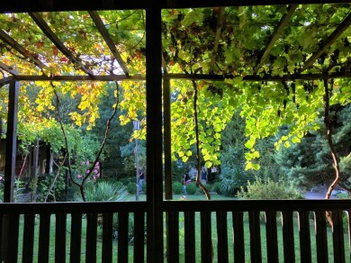 Winorośle w monasterze w Kyrdzali dają uprawniony cień od południowego słońca
