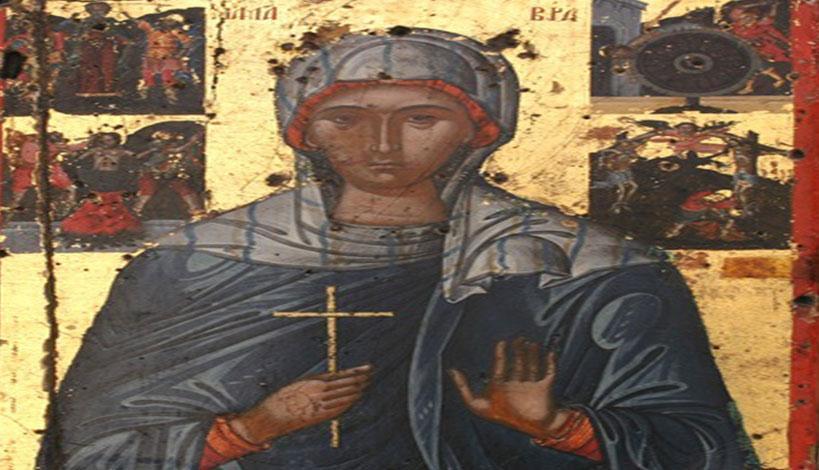 Ενώ η αγία Μαύρα ήταν κρεμασμένη στο σταυρό, την πλησίασε, σαν σε έκσταση, ο διάβολος, προσφέροντάς της ένα ποτήρι γεμάτο με μέλι και γάλα.