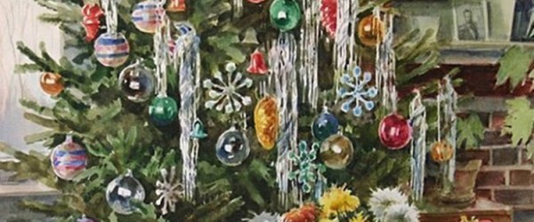 Christmas watercolor painted by Grand Duchess Olga Alexandrovna