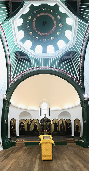 Floor to ceiling interior photo of the former Russian embassy church in London.