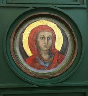 Original icon on panel at Welbeck St church