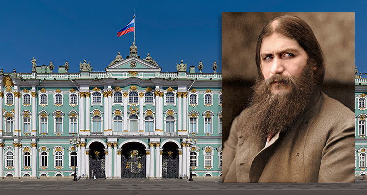 Portrait of Rasputin with Winter Palace in background