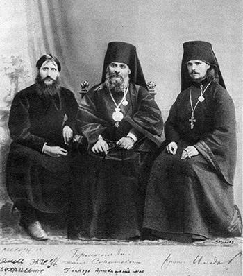 Portrait of Rasputin, Bishop Hermogenes, and Hieromonk Iliodor