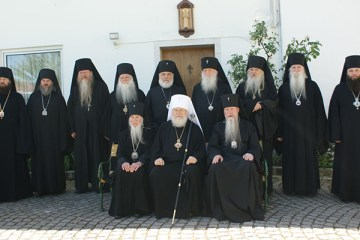 Group portrait of the participants of the Council of Bishops of the Russian Orthodox Church Outside of Russia, Buchendorf, June, 2017