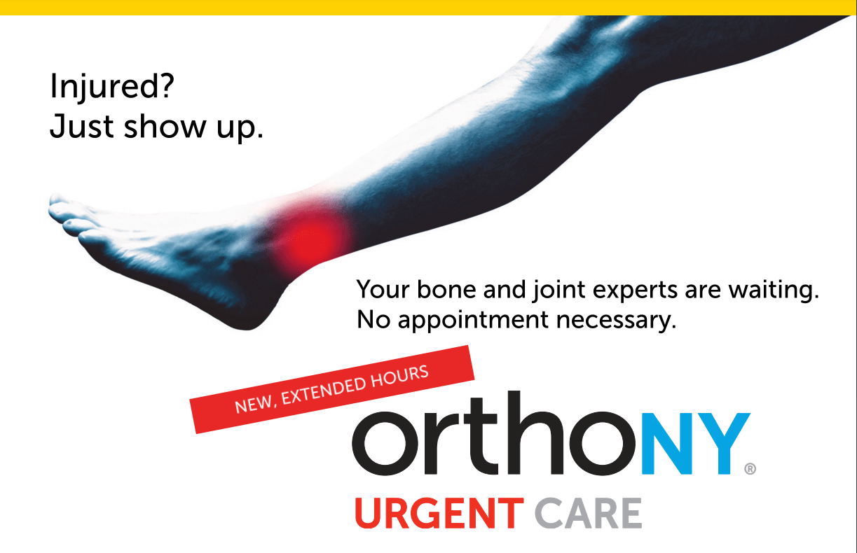 OrthoNY extended urgent care hours graphic