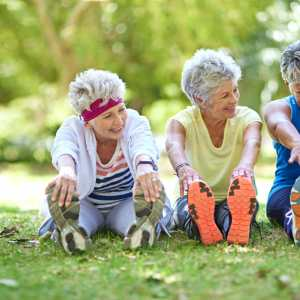 Elderly women stretching