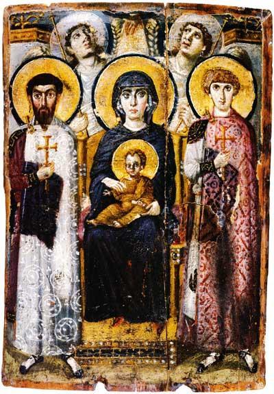 Одно из древнейших изображений св.Георгия на византийской раннесредневековой иконе, написанное достаточно близко к времени жизни святого (он показан справа – молодой юноша в красном плаще с крестом).