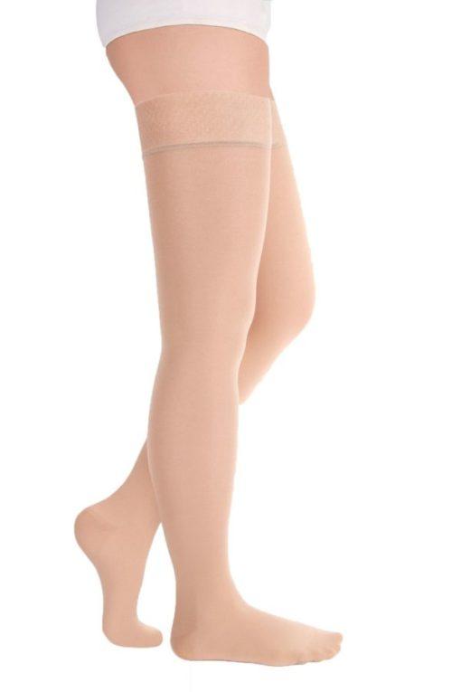 Чулки с ажурной резинкой на силиконовой основе с закрытым носком транспарент полупрозрачные ID-301T