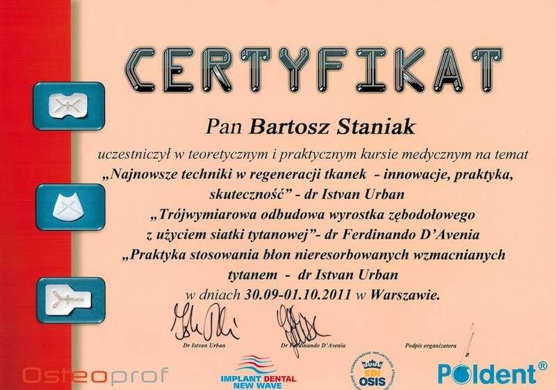 Certyfikat dla doktor Staniak ortodonta invisalign