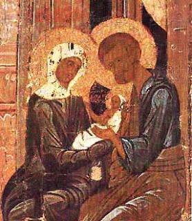 Icoana ruseasca de la Pskov, Secolul al XVI-lea, a sfintei familii, in care sunt reprezentati Sfiintii Ioachim si Ana, tinand in brate pe Maica Domnului