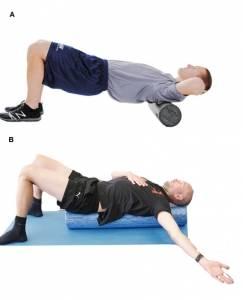 Legenda: A) upper back roll stretch B) center spine roll stretch
